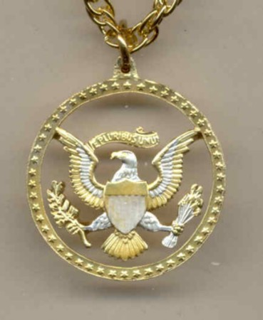 Kennedy half (Eagle & Stars) gold and silver cut coin pendent with 14k necklace