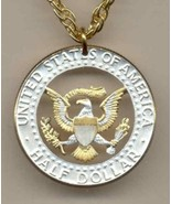 Kennedy half (Eagle & full rim) coin pendant with 14k necklace - $66.00