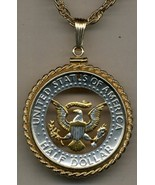 "Kennedy half (Eagle) "" gold & silver cut coin pendant with 14k necklace - $142.00"
