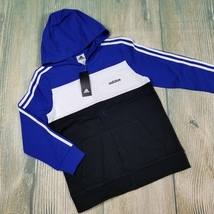 New ADIDAS sz M/L big boys color block 100% cotton zip up hoodie (JH345) - $26.00