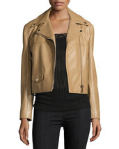 Vintage Notched Collar Hot Women's Genuine Soft Lambskin Leather biker J... - $149.00