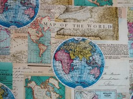 1/2 yard Map of the World maps cotton quilt fabric -free shipping image 1