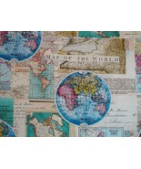 1/2 yard Map of the World maps cotton quilt fabric -free shipping - $8.99
