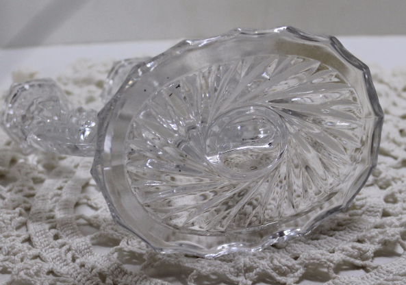 Vintage Candle Holder, Glass, Crystal,Three Candle Holder, Art Deco, Retro