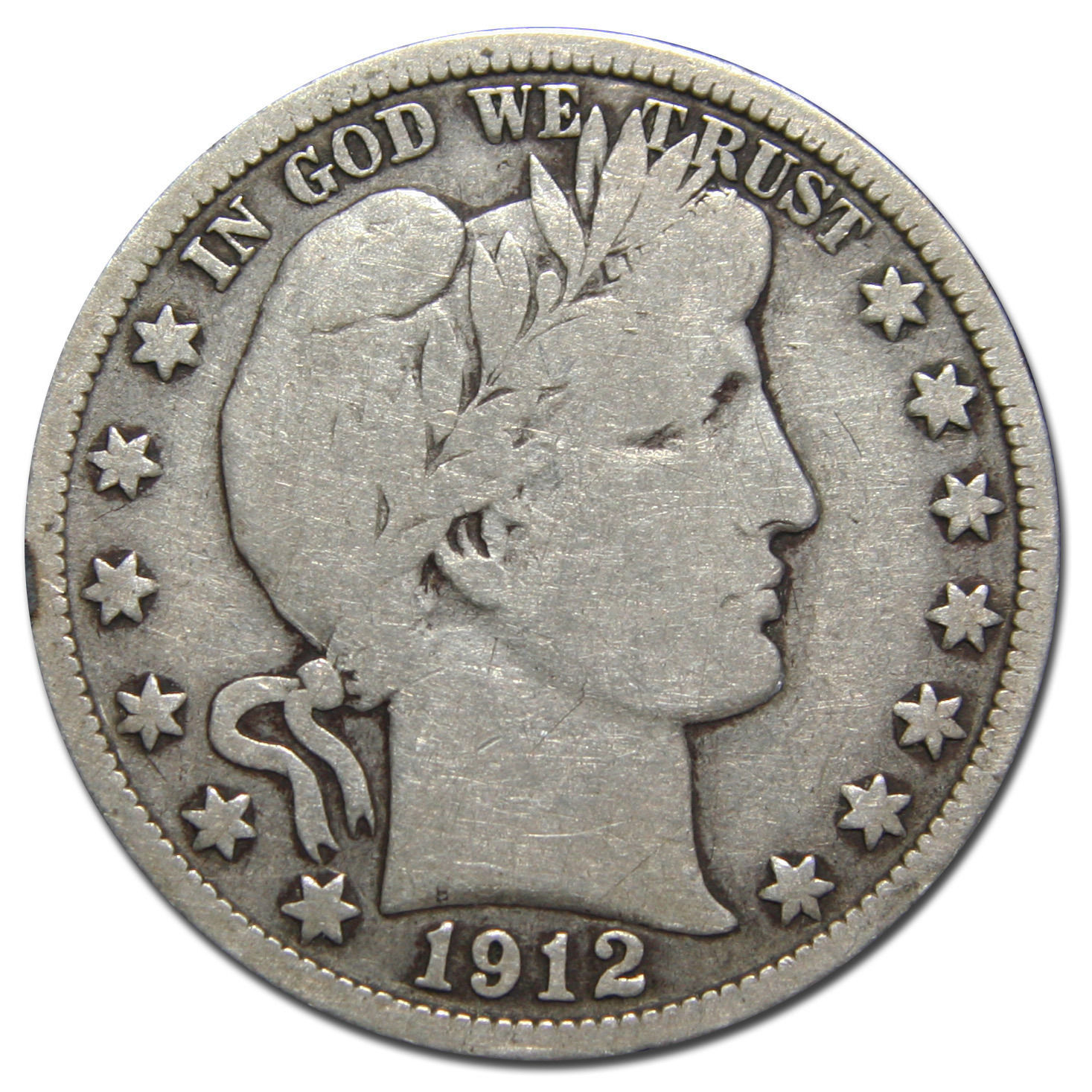 1912S Liberty Barber Head Half Dollar 50¢ Silver Coin Lot MZ 3144