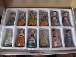 Vintage Porcelain Figurine Bells~JSNY~6 Clowns/6 Belles of the World~w/O... - $56.53