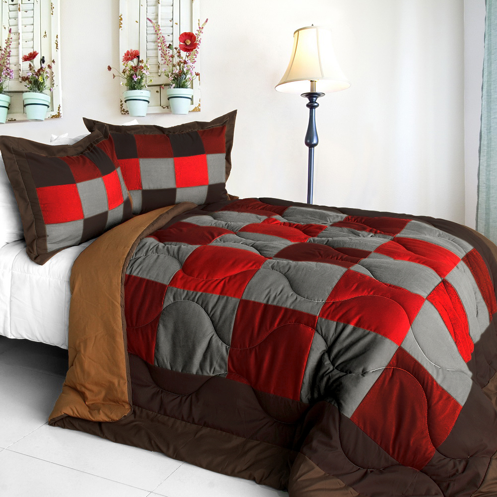 hot cytheria quilted patchwork down alternative comforter set full queen size comforters sets. Black Bedroom Furniture Sets. Home Design Ideas