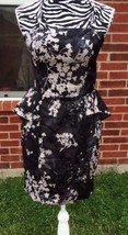 Women's Black/gray Print H&M Peplum Dress Size ... - $25.73