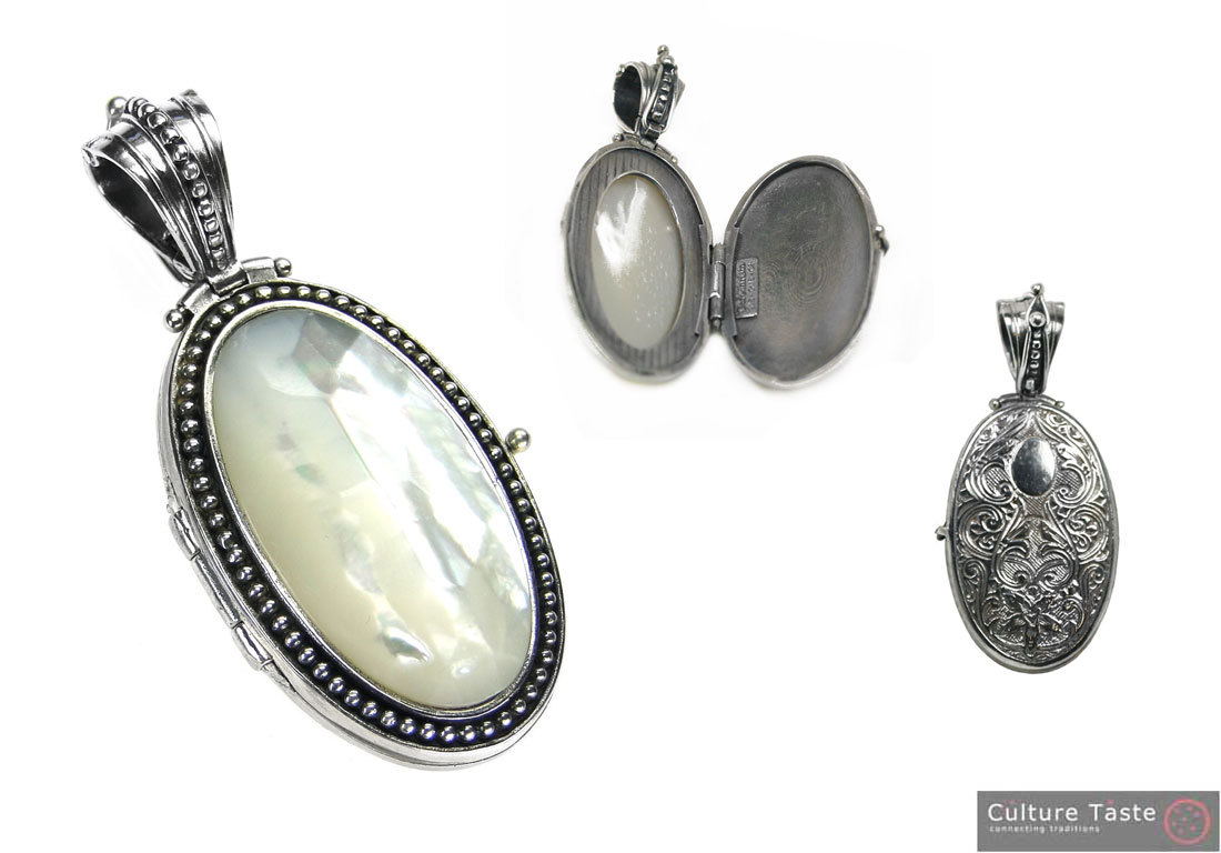 Gerochristo 3447 - Sterling Silver Medieval Byzantine Locket Pendant with MOP