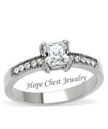 WOMEN'S STAINLESS STEEL PRINCESS CUT BRIDAL CZ ENGAGEMENT RING - SIZE 5 ... - $12.59