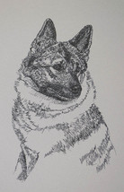 Norwegian Elkhound Dog Art Portrait Print #18 Kline adds your dogs name ... - $49.95