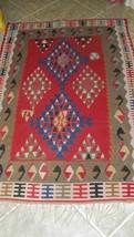 Anatolian Turkish Kilim multi-color wool Rug Carpet 4 x 6 c.1900-1939 re... - $985.00