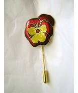 """Pansy Cloisonne enamel burgundy & yellow gold tone 2.25"""" Stick Pin - $19.78"""