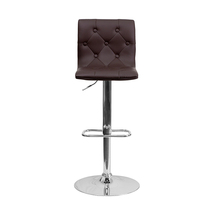 Contemporary Tufted Brown Vinyl Adjustable Height Bar Stool With Chrome ... - $89.25