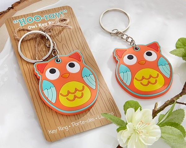 """""""HOO-ray!"""" Owl Key Chain Baby Bridal Shower Wedding Favor Gift Party Reception 1"""