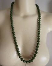 Early Antique Vintage Chinese Faux JADE Peking Glass Bead Necklace (bubb... - $180.00