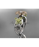 Three color nature inspired engagement ring, 14kt tri color gold floral ... - $1,125.00