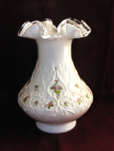 Fenton Violets in the Snow Spanish Lace Large Vase - $55.00