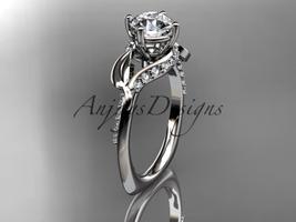 Unique platinum diamond leaf and vine wedding ring, engagement ring ADLR225 - $1,825.00