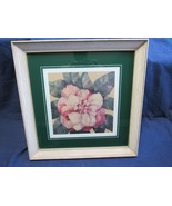 "VTG  16 x 16"" Antique Rustic Farm House Floral Print White Washed Frame - $26.03"