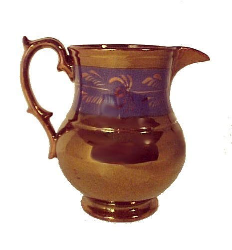 Antique Copper Lustre  Creamer Pitcher Jug Blue Band 5""