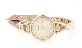 Women's Fossil White And Gold Georgia Stainless And Leather Band Watch Es3260 - $113.60
