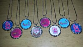 Set of 8 ST LOUIS CARDINALS Flat Bottlecap Necklaces! Fast Shipping!! - $8.50