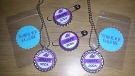 Set of 4 GRAPE SODA Ellie Badge! 2 Bottlecap Pins & 2 Flat Bottle cap Ne... - $7.50