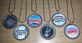 Set of 6 SAN ANTONIO SPURS Flat Bottlecap Necklaces! Fast Shipping!! - $6.50