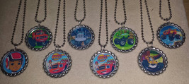 Set of 8 Blaze & The Monster Machines Flat Bottlecap Necklaces! Fast Shi... - $9.00