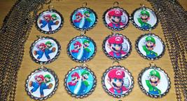 "Set of 12 ""SUPER MARIO & LUIGI"" Flat Bottlecap Necklaces! Fast Shipping!! - $12.50"
