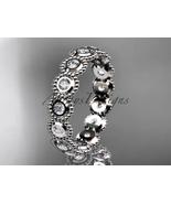 Bridal ring,14k white gold white sapphire flower engagement ring, weddin... - $895.00