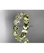 Bridal ring,14k yellow gold white sapphire flower  engagement ring, wedd... - $895.00