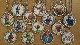 Set of 14 CLASH OF CLANS Flat Bottlecap Necklaces! Fast Shipping!! - $15.25
