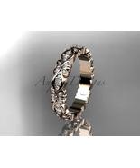 Floral wedding ring,14kt rose gold floral diamond wedding ring, engageme... - $1,355.00