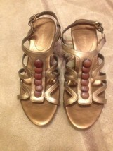 Women's Bronze Easy Spirit Leather Wedge Sandals Size 8.5 - $11.87