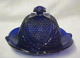 Blue Depression Large Glass Dome Covered Butter Cheese 2 Piece Dish - $57.57