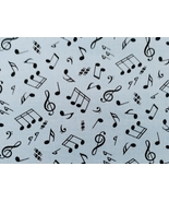 1/2yd+ Music/small black notes on medium blue quilt fabric - free shipping - $12.99