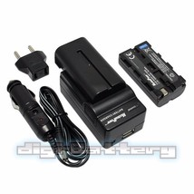 TWO BATTERIES + Charger Pack for Sony NP-F550 NP-F330 NP-F530 NP-F570  2... - $26.62
