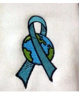 Ovarian Cancer Teal Ribbon World Embroidery White Hoodie Sweatshirt 3X New - $33.57