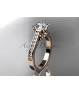 Unique engagement ring, 14kt rose gold diamond unique engagement ring,we... - $1,305.00