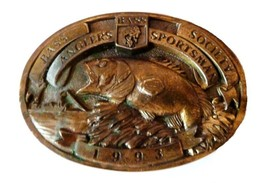 Vintage BASS Anglers Sportsman Society Fishing Boat Brass Belt Buckle 1993 USA - $49.47
