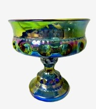 Vintage Indiana Iridescent Carnival Blue Kings Crown Candy Pedestal Comp... - $48.97