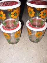 Hazel Atlas Atlas Breakstone Sour Cream Glasses Set 4 Flower Collectible 1960s - £63.09 GBP