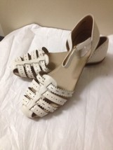 Womens Off White Leather Easy Spirit Sandals Size 10 New - $25.73