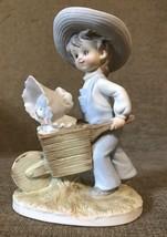 Lefton China - Boy with Dog in Wheelbarrow Figurine - Hand Painted - #KW230 - $4.56