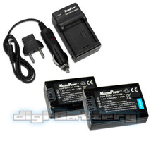 TWO BATTERIES + CHARGER Pack  SONY NP-FH50 NP-FH40 NP-FH30 Camera Batter... - $19.49