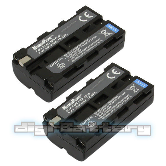 TWO BATTERIES + Charger Pack for Sony NP-F550 NP-F330 NP-F530 NP-F570  2.5Ah image 3