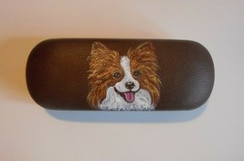 Papillon dog Art Eyeglass Glasses Spectacles Case Hand Painted - $34.00
