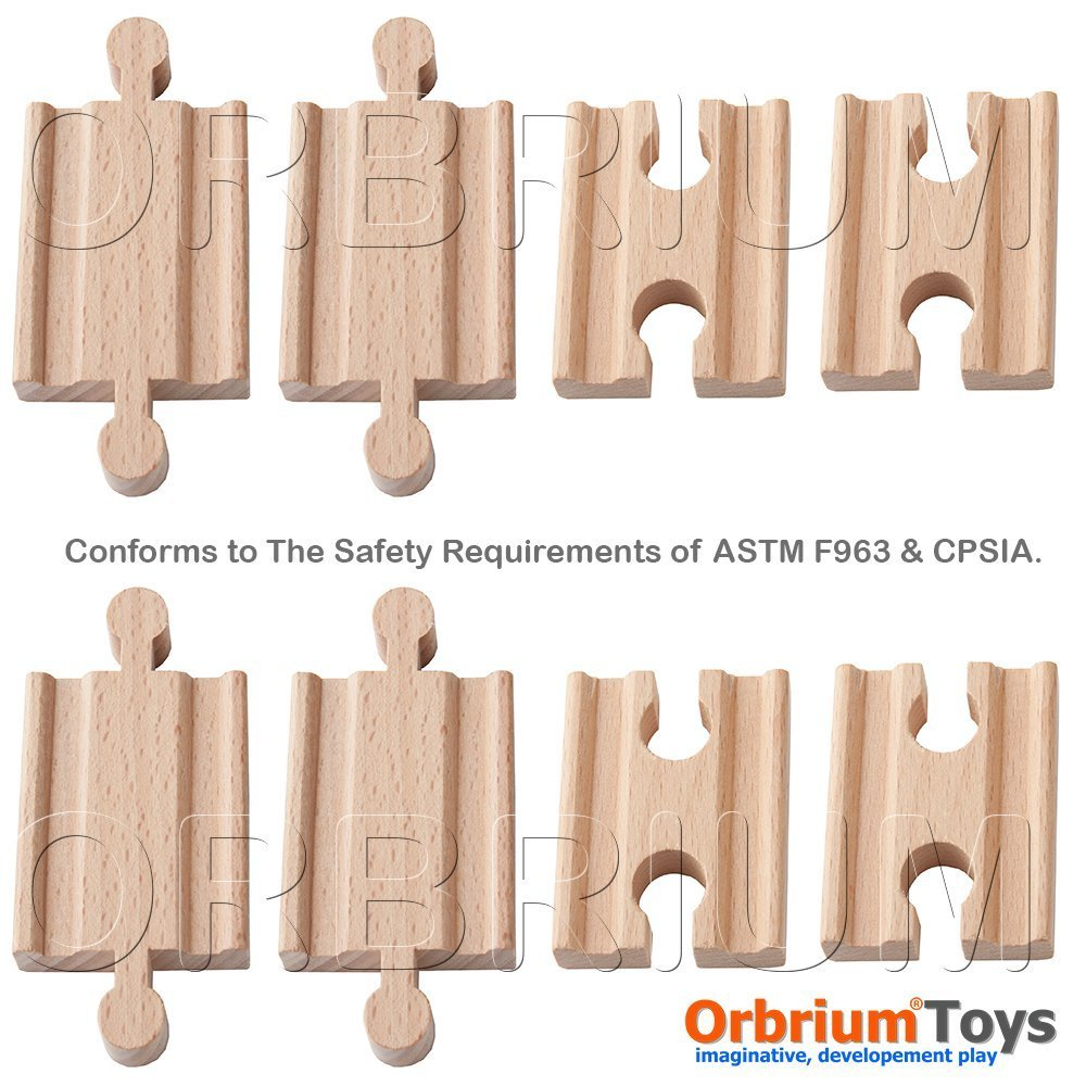 Hot Sale! $10.95 Orbrium Toys Male-Male Female-Female Wooden Train Track Adapter